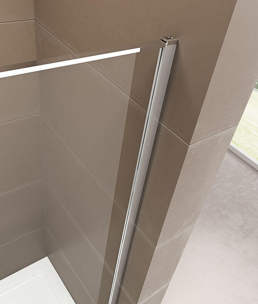 Paroi de douche fixe et porte pivotante en verre NANO transparent - EX409 - 90 x 90 x 195 cm – Bild 6