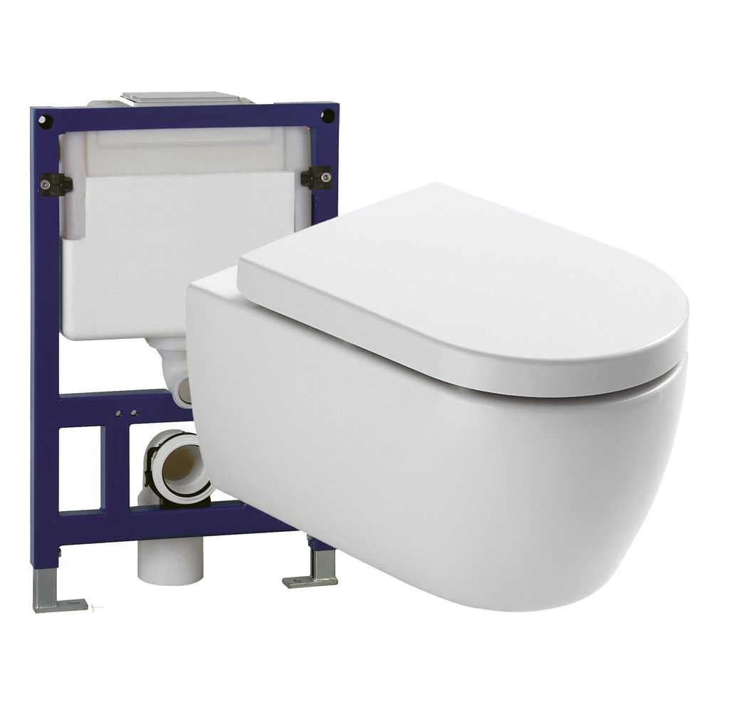 Wall Hung WC  without flushing rim - special saving package 2: NT2038 - and support frame G3005  with satin flush plate  – Bild 1