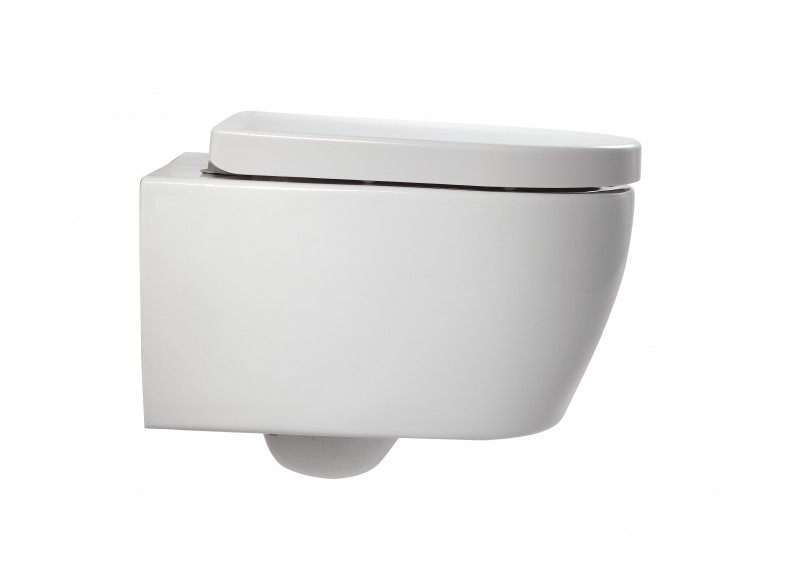 Wall Hung WC  without flushing rim - special saving package 2: NT2038 - and support frame G3005  with satin flush plate  – Bild 2
