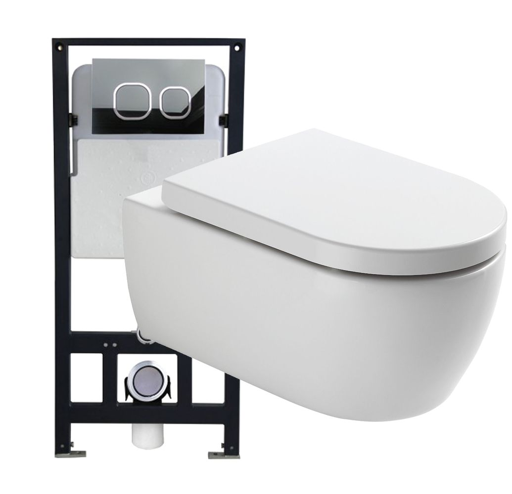 Wall Hung WC  without flushing rim - special saving package 3: NT2039 - and support frame G3004A  with flush plate  – Bild 1
