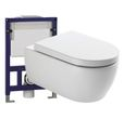 Wall Hung WC  without flushing rim - special saving package 4: NT2039 - and support frame G3005  with satin flush plate  001