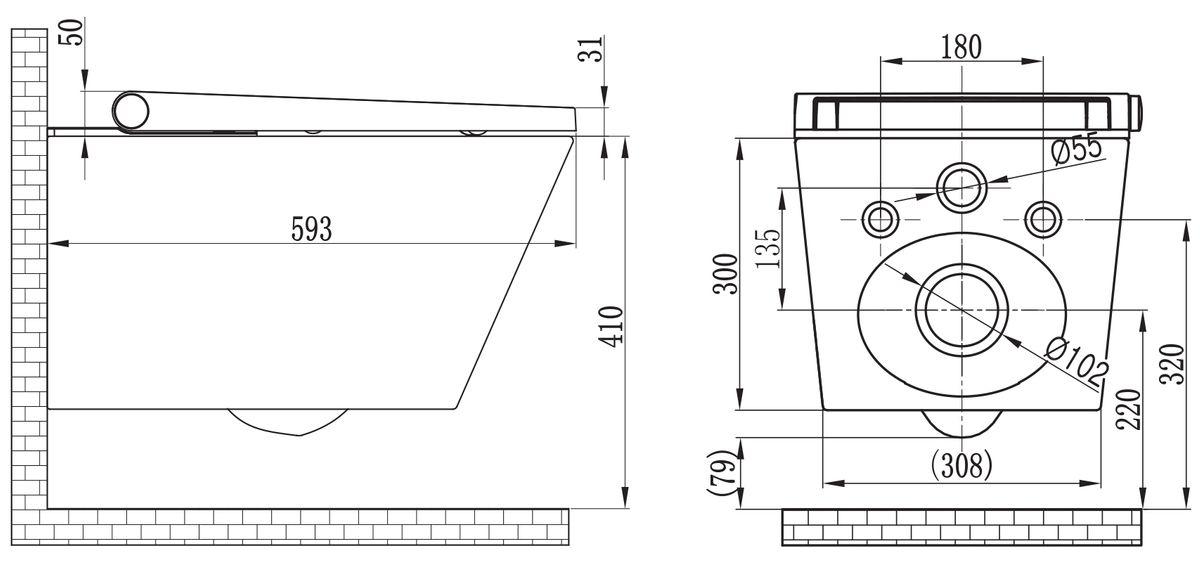 WC lavant BERNSTEIN basic 1102 offre spéciale pack économique 6 avec - module sanitaire 805 et plaque de déclenchement – Bild 12