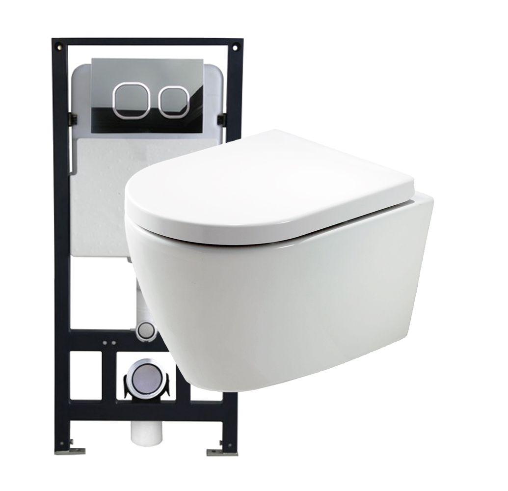 WC suspendu offre spéciale pack économique 10: B-8030 - et bâti-support G3004A avec plaque de déclenchement – Bild 1