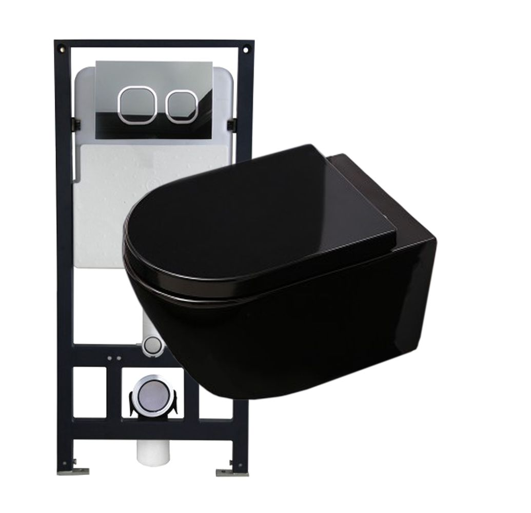 Wall Hung WC B-8030 - Black -special saving package 12 - and support frame G3004A  with flush plate  – Bild 1