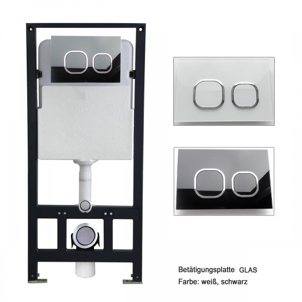 Wall Hung WC B-8030 - Black -special saving package 12 - and support frame G3004A  with flush plate  – Bild 6