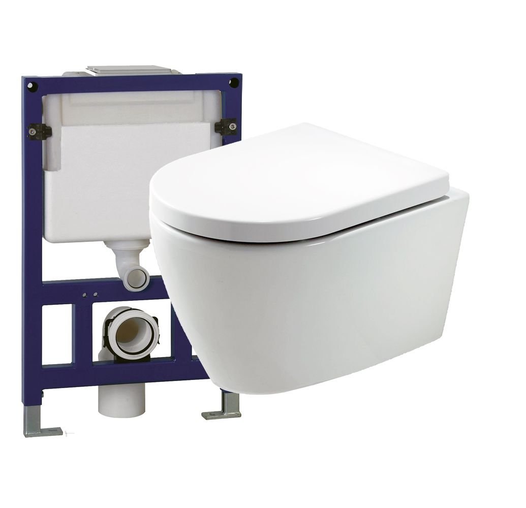 Wall Hung WC B-8030 - special saving package 11 - and support frame G3005 with  satin flush plate  – Bild 1