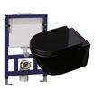 WC-Sparpaket 13: WC B-8030 und Soft-Close Sitz in Schwarz mit Vorwandelement G3005 und Betätigungsplatte oben