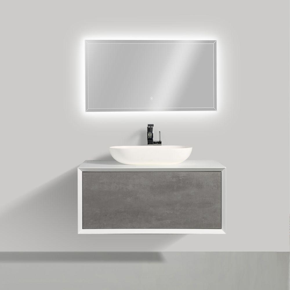 Badmöbel Fiona 900 Weiß matt - Front in Beton-Optik - Spiegel und Aufsatzwaschbecken optional – Bild 1