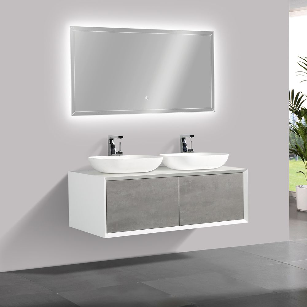 Bathroom furniture set FIONA 1200 white matte body and and concrete- effect drawers - mirror and basin optional – Bild 2