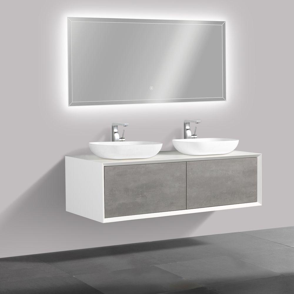 Badmöbel Fiona 1400 Weiß matt - Front in Beton-Optik - Spiegel und Aufsatzwaschbecken optional – Bild 1