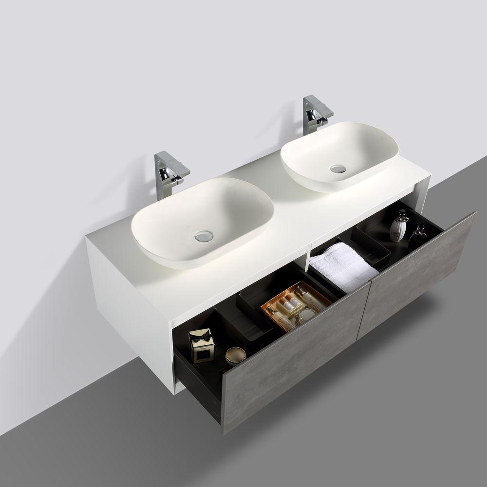 Badmöbel Fiona 1400 Weiß matt - Front in Beton-Optik - Spiegel und Aufsatzwaschbecken optional – Bild 4