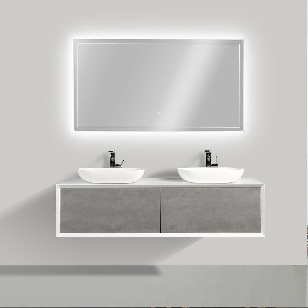 Badmöbel Fiona 1600 Weiß matt - Front in Beton-Optik - Spiegel und Aufsatzwaschbecken optional – Bild 1