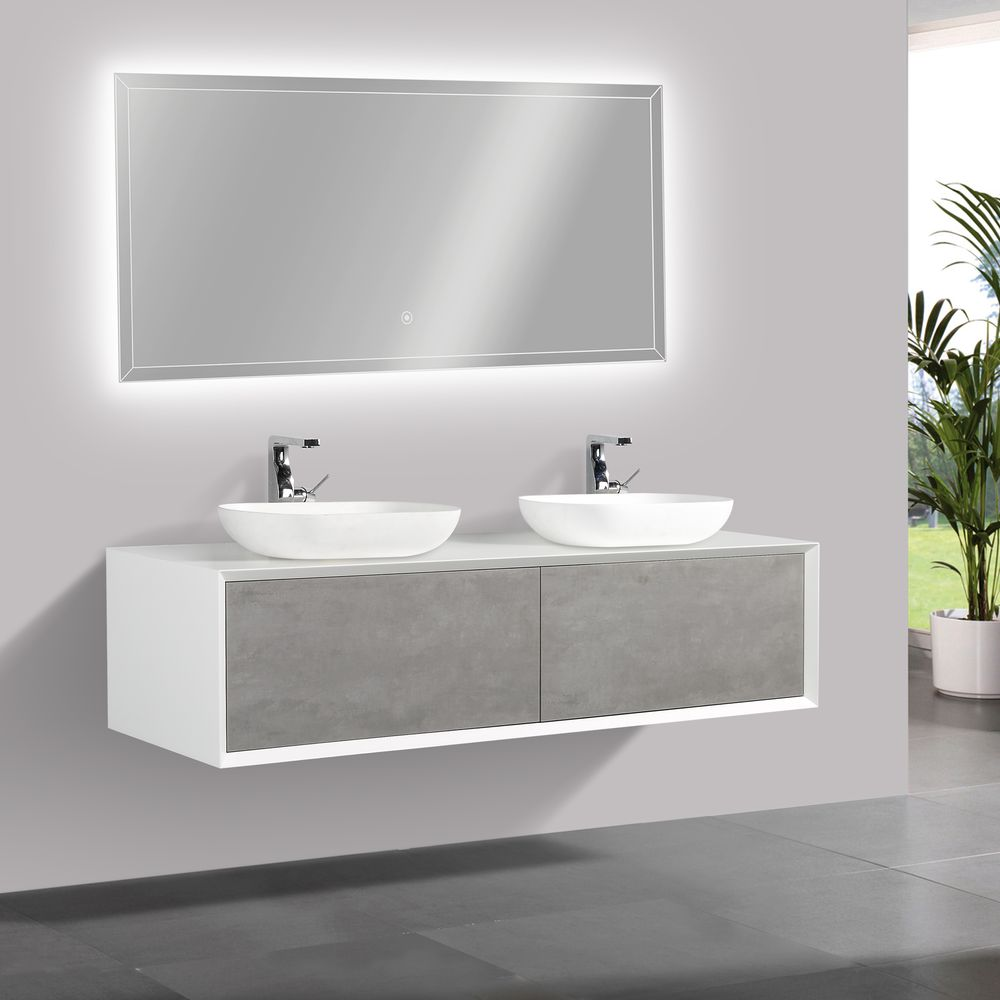 Bathroom furniture set FIONA 1600 white matte body and and concrete- effect drawers - mirror and basin optional – Bild 3