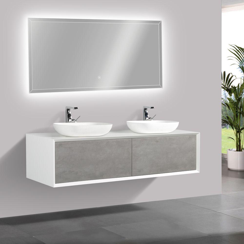 Badmöbel Fiona 1600 Weiß matt - Front in Beton-Optik - Spiegel und Aufsatzwaschbecken optional – Bild 3