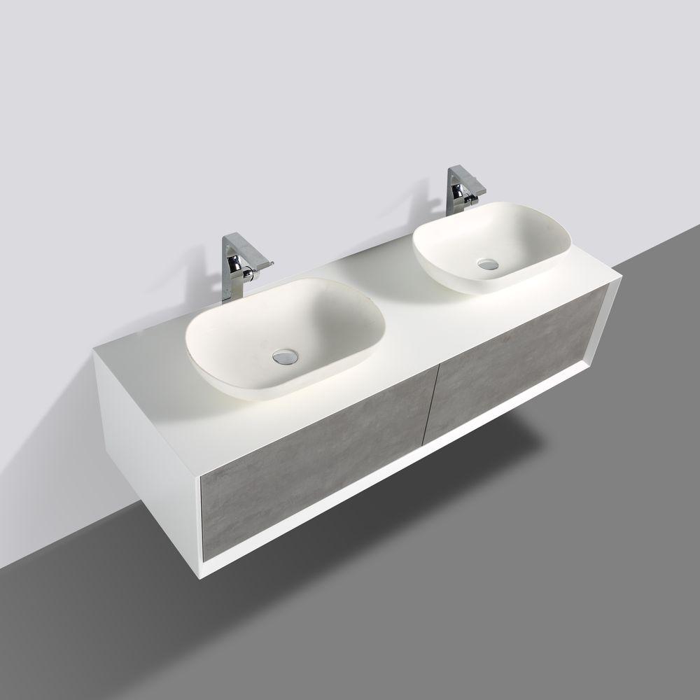 Badmöbel Fiona 1600 Weiß matt - Front in Beton-Optik - Spiegel und Aufsatzwaschbecken optional – Bild 2