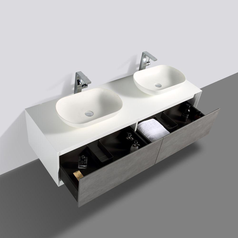 Badmöbel Fiona 1600 Weiß matt - Front in Beton-Optik - Spiegel und Aufsatzwaschbecken optional – Bild 4
