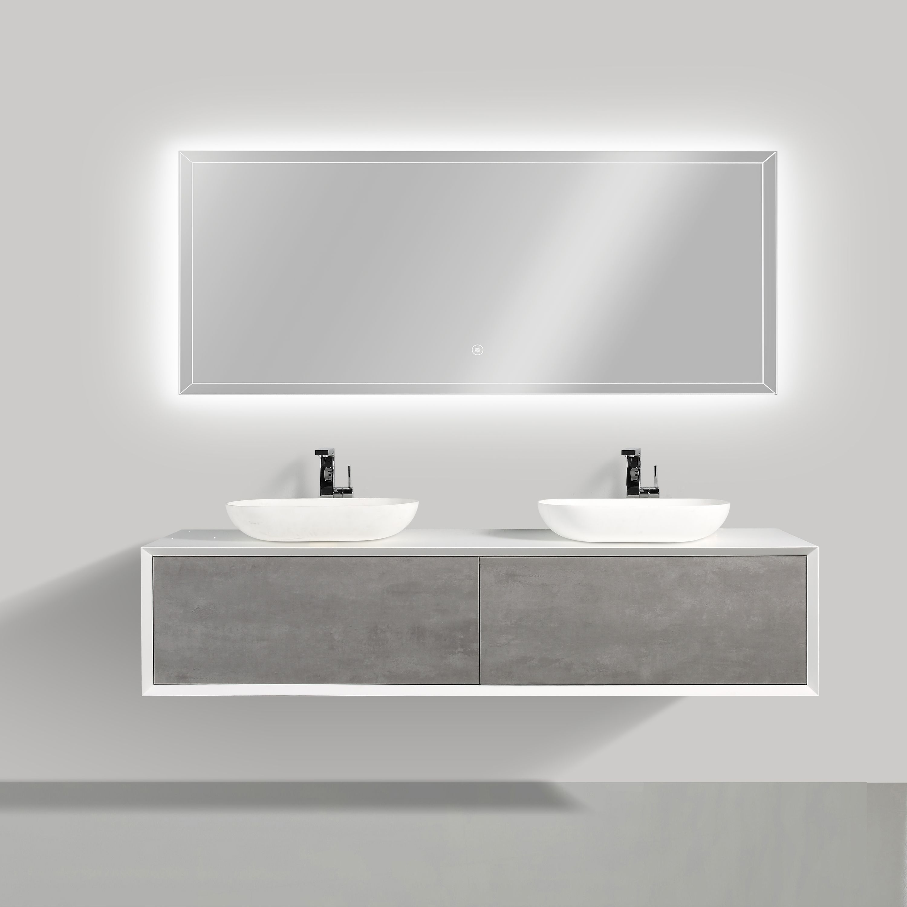 Bathroom furniture set FIONA 1800 white matte body and concrete- effect drawers - mirror and basin optional