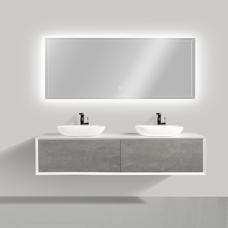 Badmöbel Fiona 1800 Weiß matt - Front in Beton-Optik - Spiegel und Aufsatzwaschbecken optional