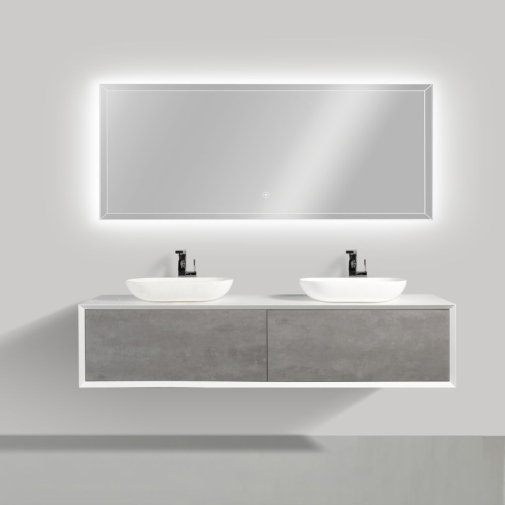 Bathroom furniture set FIONA 1800 white matte body and and concrete- effect drawers - mirror and basin optional – Bild 1
