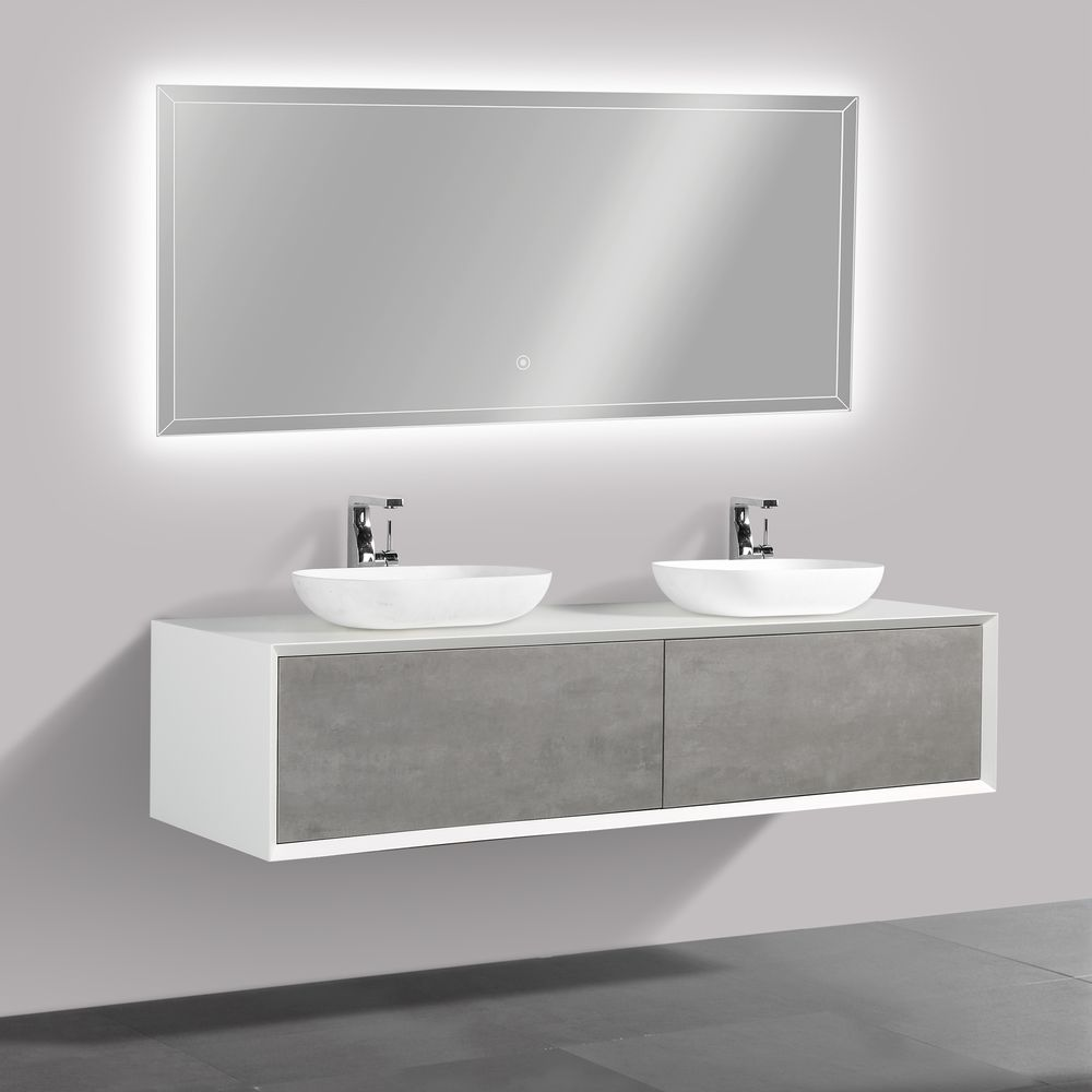Bathroom furniture set FIONA 1800 white matte body and and concrete- effect drawers - mirror and basin optional – Bild 2