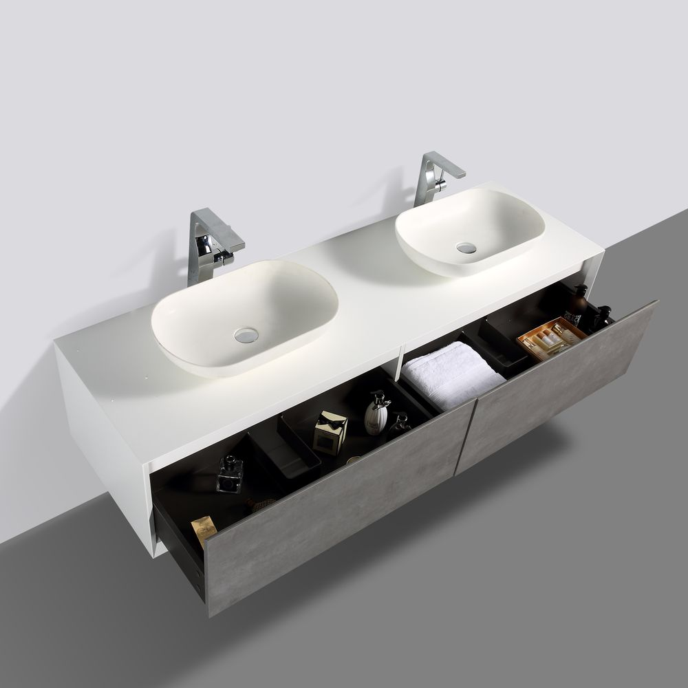 Bathroom furniture set FIONA 1800 white matte body and and concrete- effect drawers - mirror and basin optional – Bild 4
