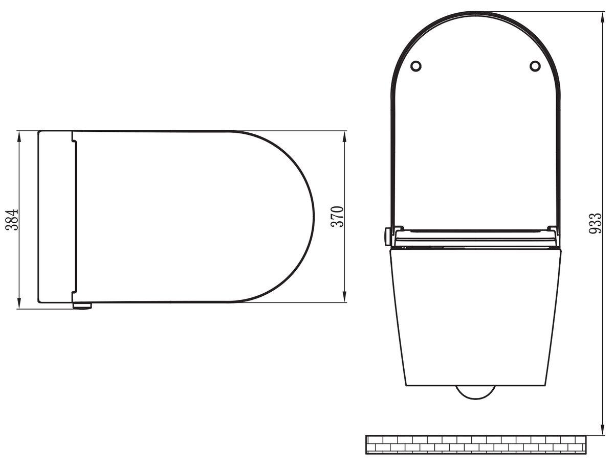 WC-Komplettpaket 15: DUSCH-WC Basic 1102 & Vorwandelement G3005 und Betätigungsplatte oben – Bild 12