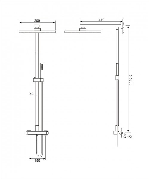 Design-Duschsystem Duschsäule SEDAL-Thermostat 8921B Basic in Schwarz - Optional mit Edelstahl-Duschkopf eckig – Bild 6