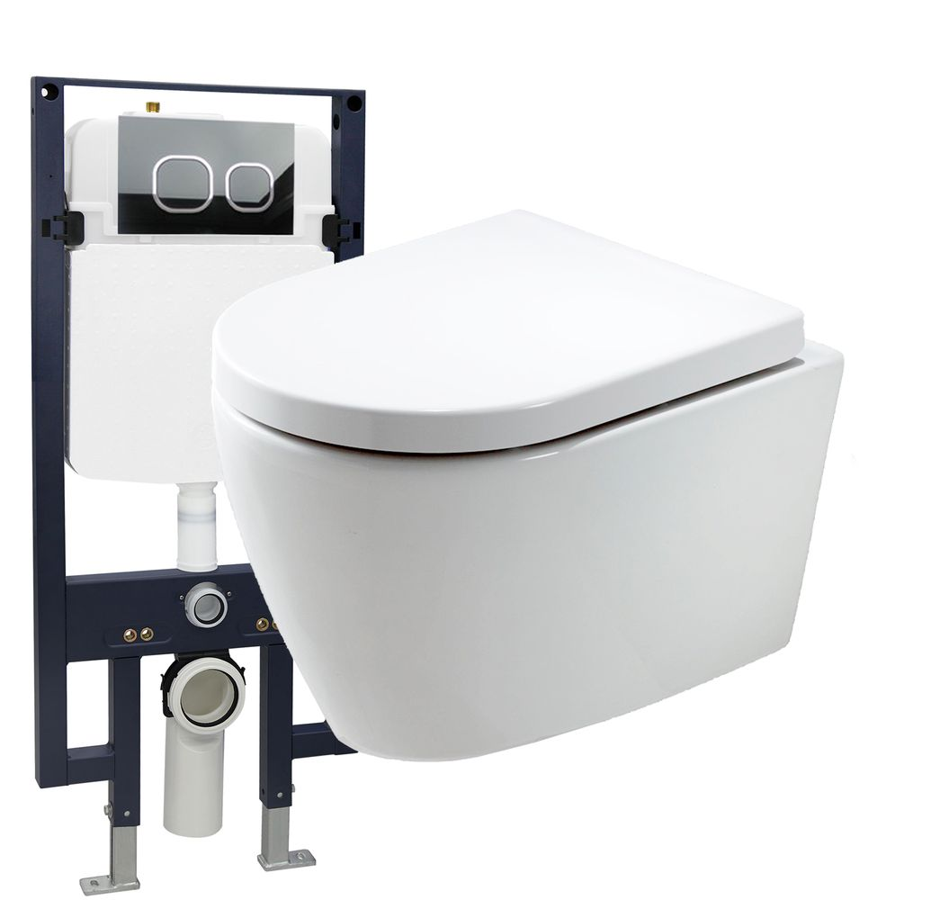 Wall Hung WC B-8030 - special saving package 20 - and support frame G3008  with flush plate  – Bild 1