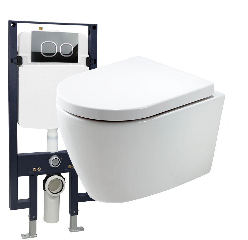 WC suspendu offre spéciale pack économique 20: B-8030 - bâti-support G3008 avec plaque de déclenchement à choix – Bild 1