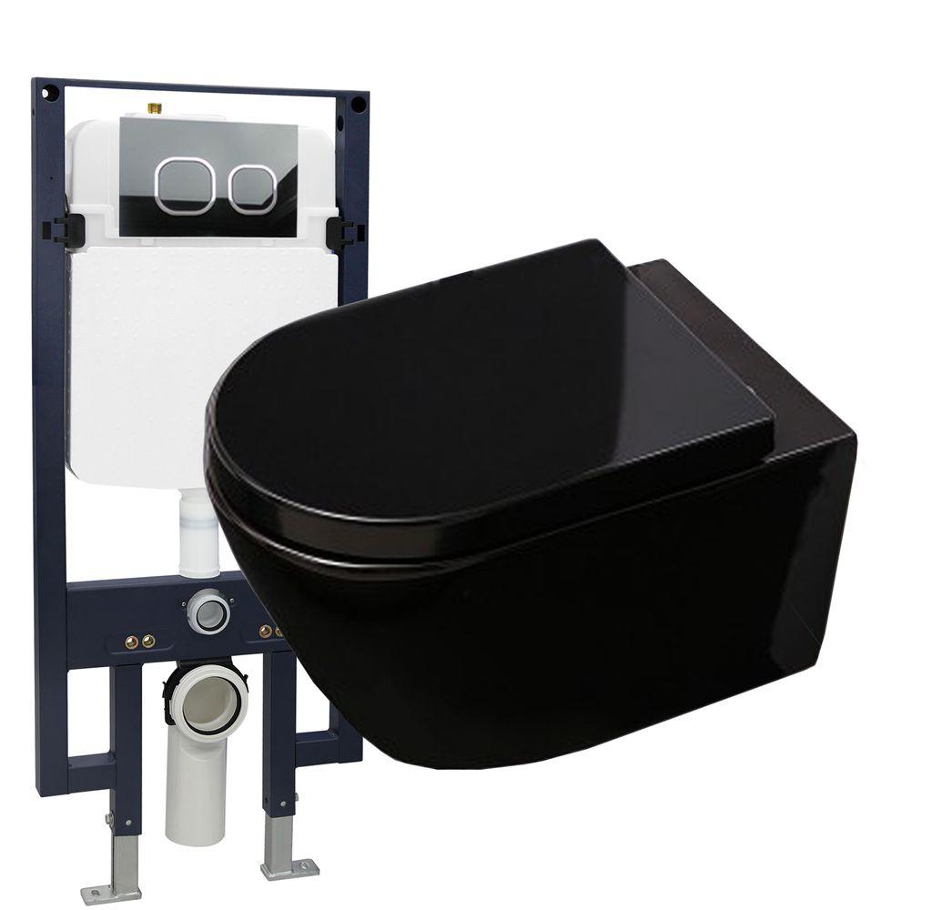 WC-Komplettpaket 21: WC B-8030 in Schwarz und Soft-Close Sitz mit Vorwandelement G3008 und Betätigungsplatte vorne – Bild 1