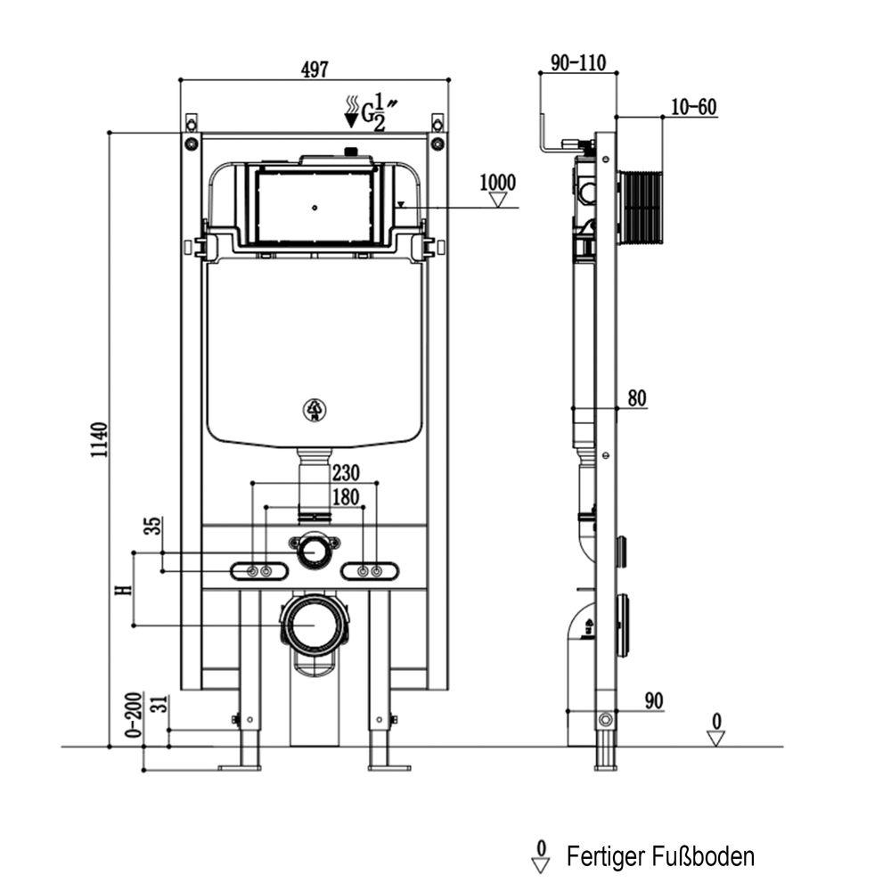 WC suspendu offre spéciale pack économique 21: B-8030 noir - bâti-support G3008 avec plaque de déclenchement à choix – Bild 11