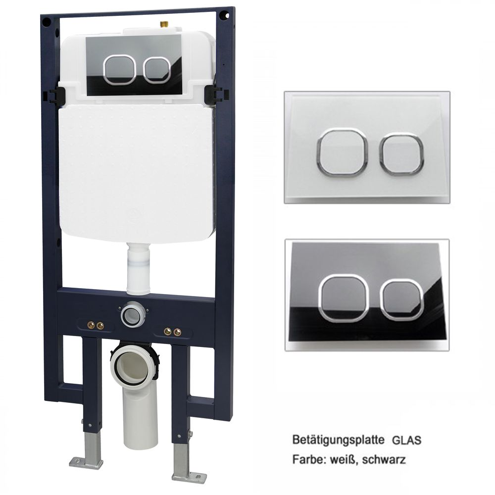 Wall Hung WC B-8030 - Black -special saving package 21 - and support frame G3008  with flush plate  – Bild 7