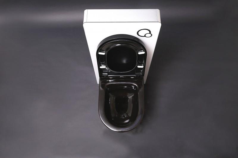 WC-Komplettpaket 21: WC B-8030 in Schwarz und Soft-Close Sitz mit Vorwandelement G3008 und Betätigungsplatte vorne – Bild 3