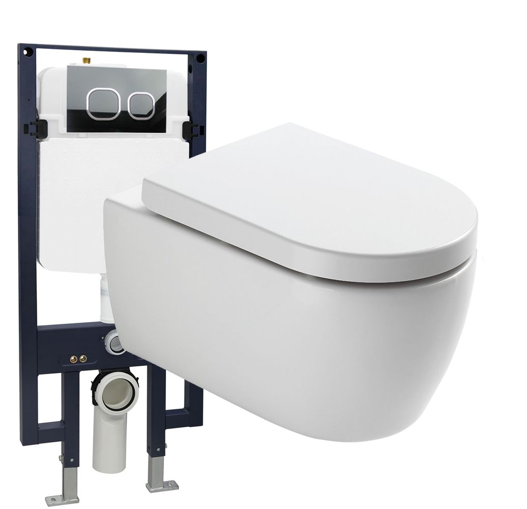 Wall Hung WC  without flushing rim - special saving package 22: NT2039 - and support frame G3008 with flush plate  – Bild 1