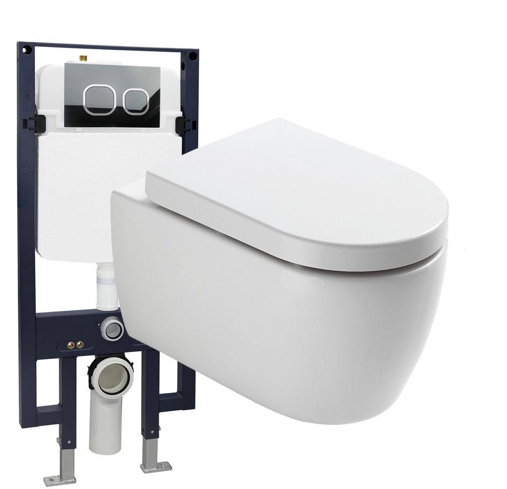 Wall Hung WC NT2038 - special saving package 23 - and support frame G3008  with flush plate  – Bild 1