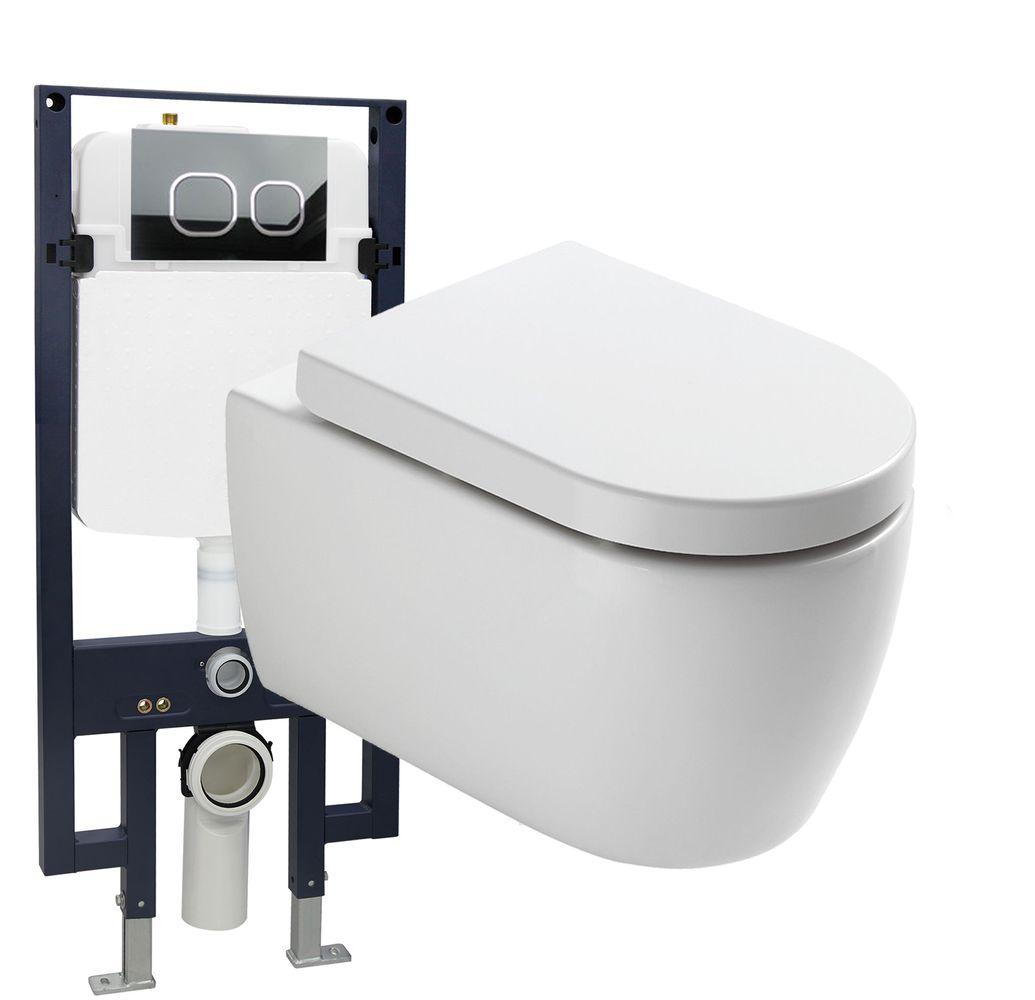 WC suspendu offre spéciale pack économique 23: NT2038 - et bâti-support G3008 avec plaque de déclenchement – Bild 1