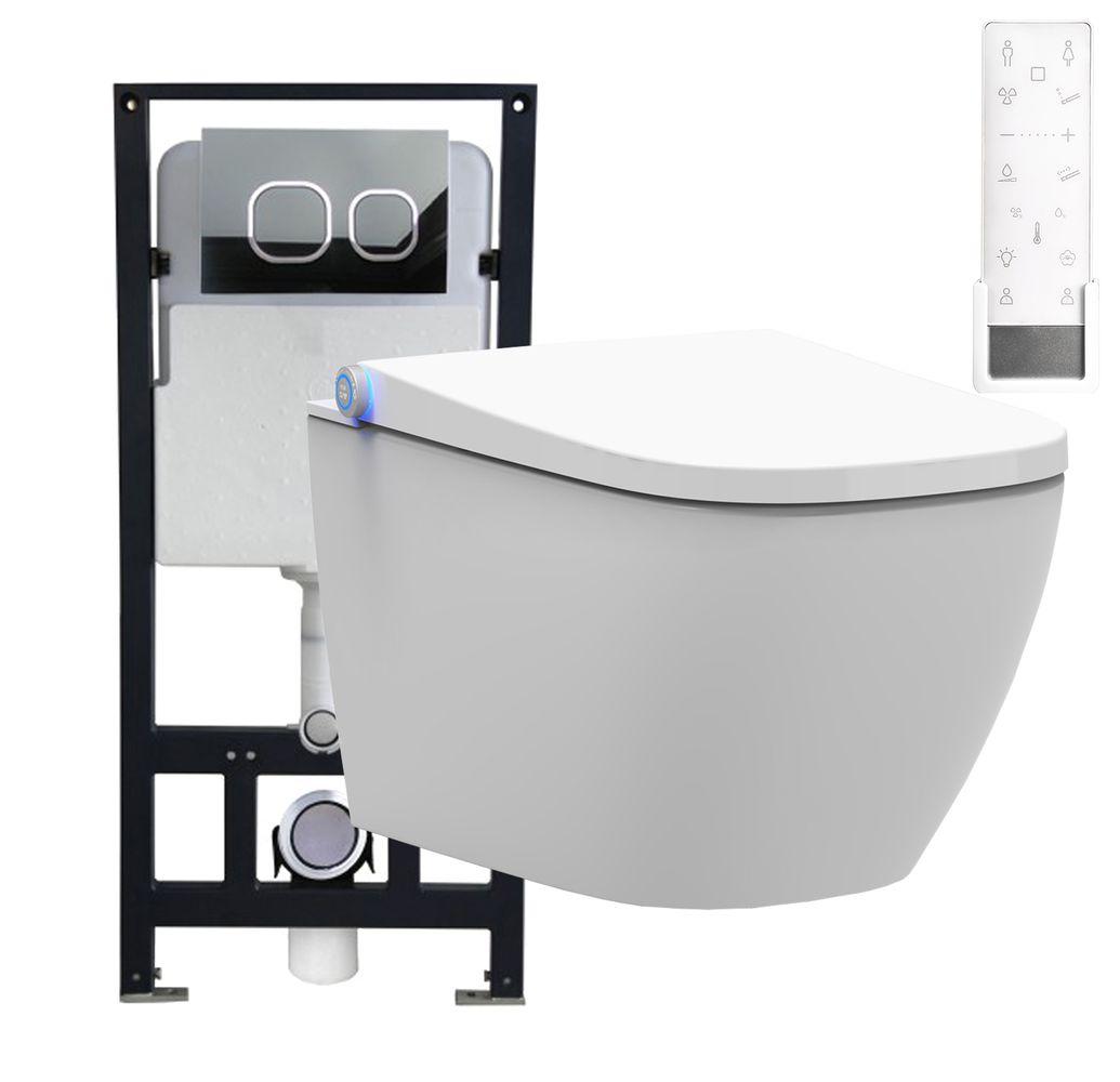 WC-Komplettpaket 26: BERNSTEIN DUSCH-WC PRO+ 1104 und Soft-Close Sitz mit Vorwandelement G3004A und Betätigungsplatte vorne – Bild 1
