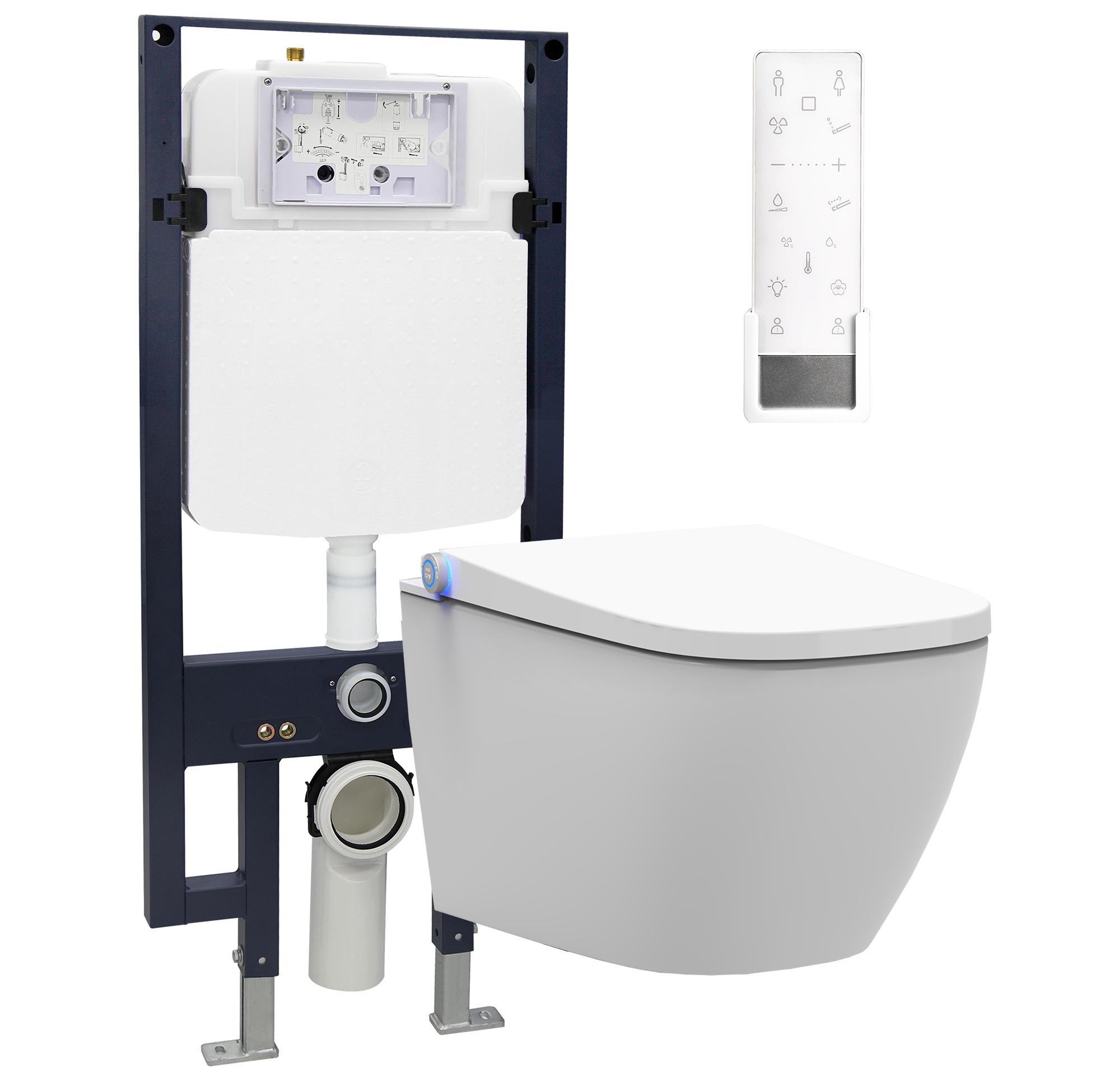 WC-Komplettpaket 28: BERNSTEIN DUSCH-WC PRO+ 1104 und Soft-Close Sitz mit Vorwandelement G3008 und Betätigungsplatte vorne