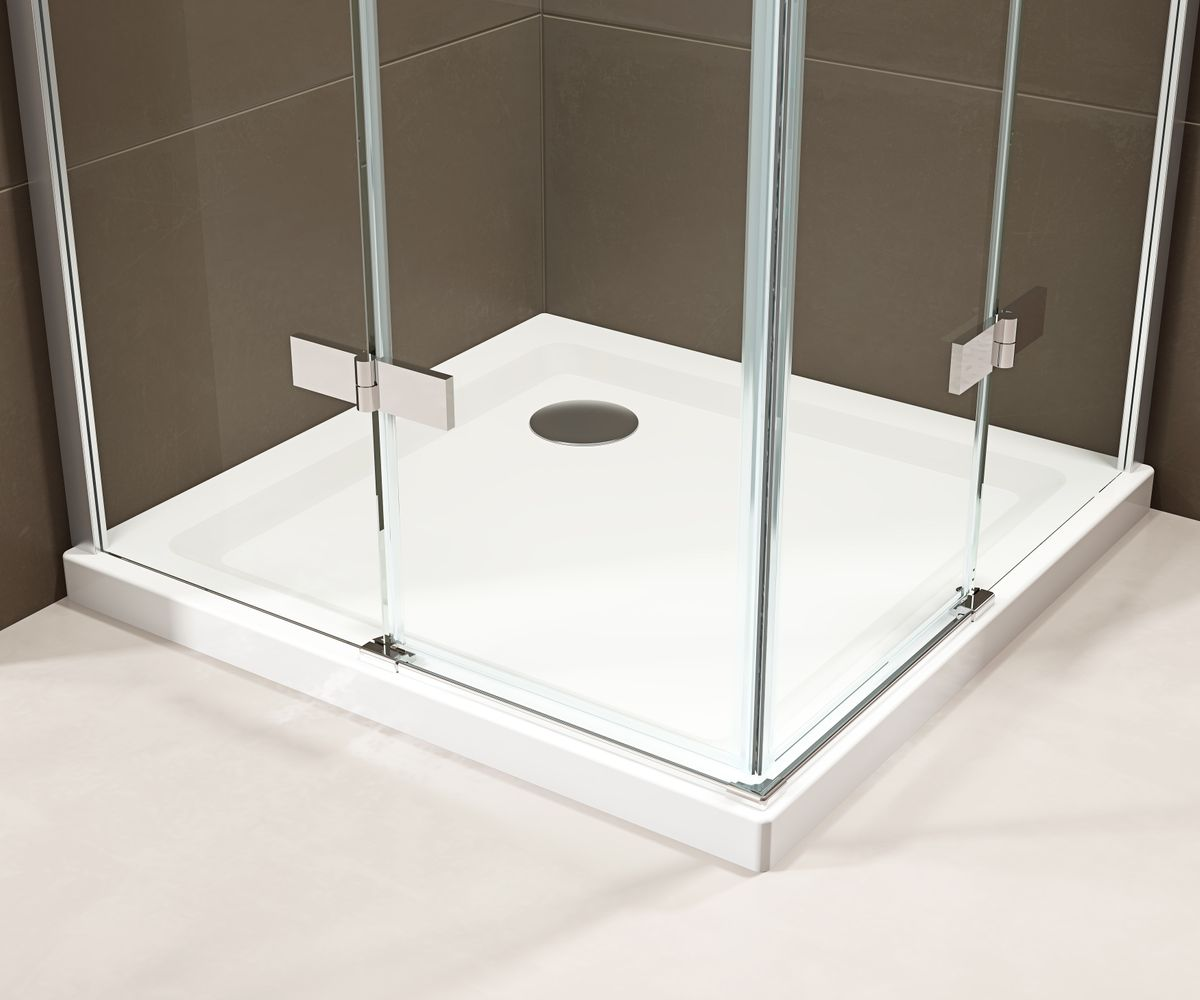 Corner shower enclosure  EX809 - frameless and shower tray made of SMC - 90 x 90 x 195 cm – Bild 4