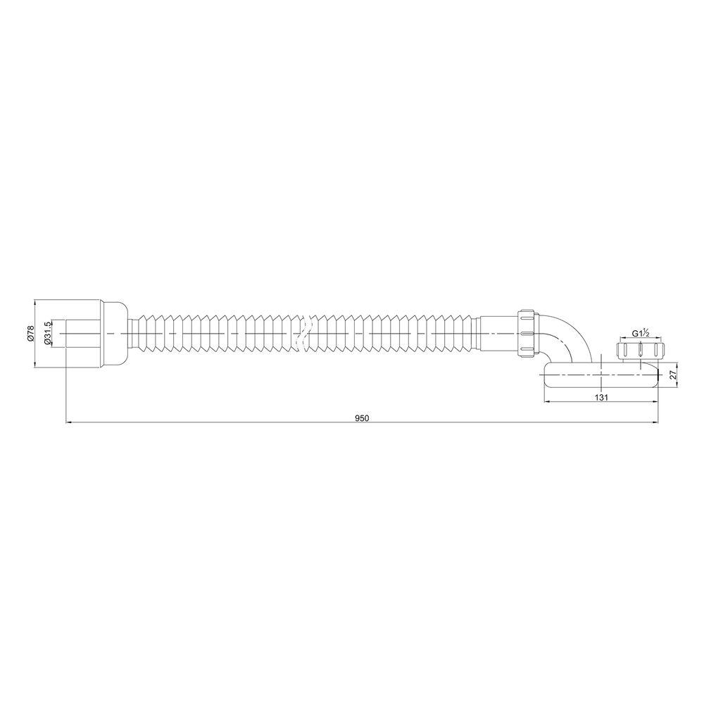 Standard Ab-/ Überlaufgarnitur für Einbaubadewannen - Siphon optional – Bild 11