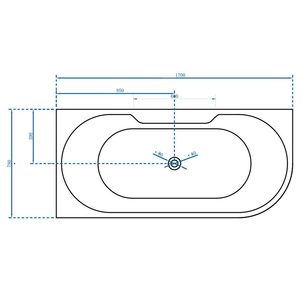 Freistehende Raumsparbadewanne NOVA CORNER PLUS Acryl weiß - Einbau links - 170 x 78 cm - Wannenarmatur 6080 wählbar – Bild 6