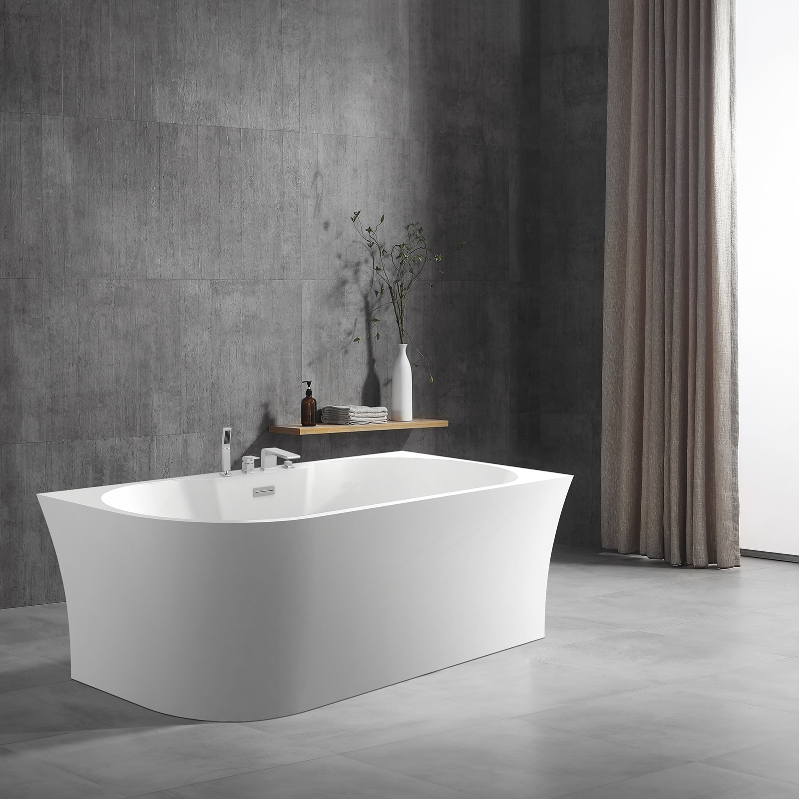 Freestandung acrylic bathtub NOVA CORNER PLUS - white - right installation - 170 x 78 cm - optional tap