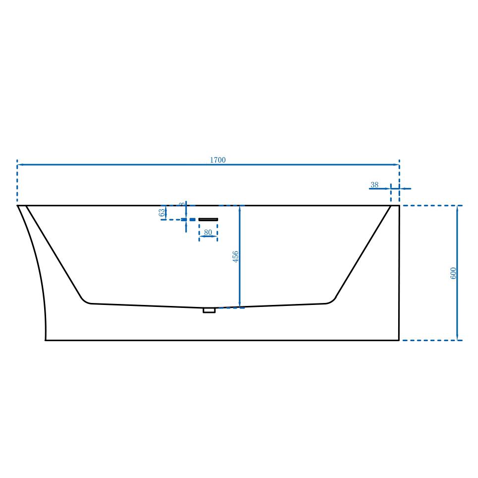 Vrijstaand bad NOVA CORNER PLUS in sanitair acryl wit - installatie rechterzijde - 170 x 78 cm - kranen 6080 optioneel – Bild 7