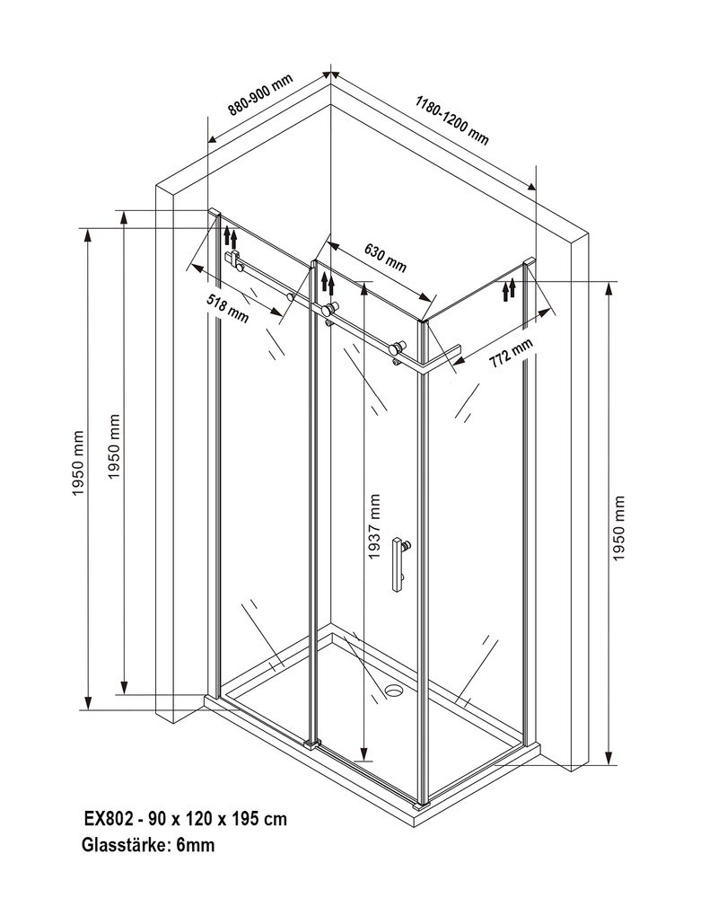 Sliding shower enclosure - EX802 - NANO -90 x 120 x 195 cm - various thicknesses available and optional tray  – Bild 12