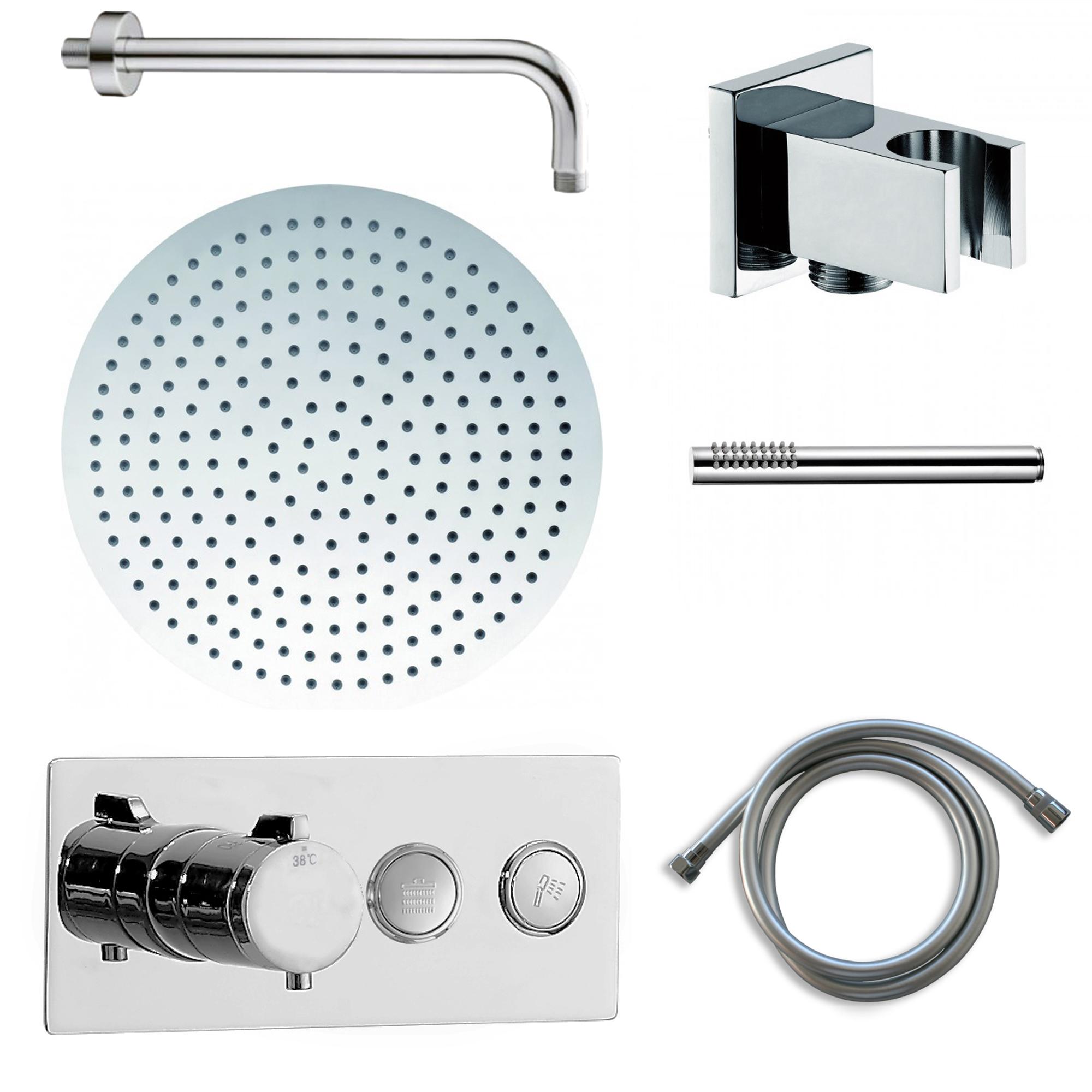 BERNSTEIN Unterputz-Duscharmatur-Set  mit Thermostat NT7176, Regendusche & Handbrause