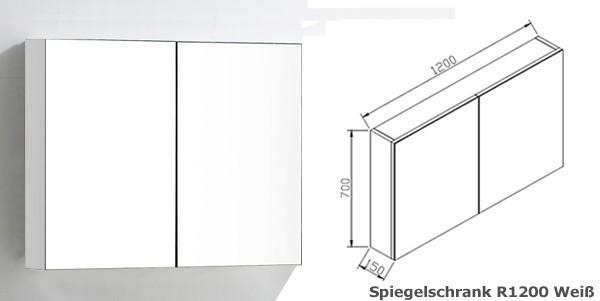 Badmöbel-Set R1200 Weiß - inkl. Spiegelschrank und Seitenschrank – Bild 5