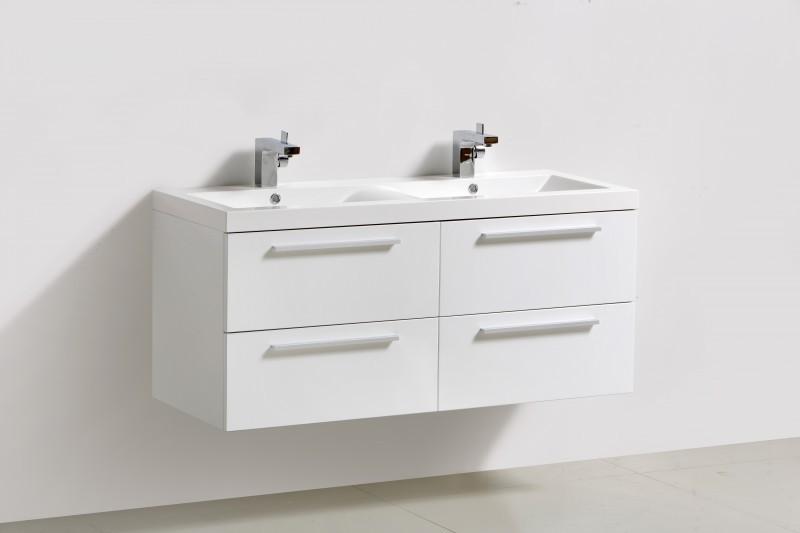 Badmöbel-Set R1200 Weiß inkl. Seitenschrank - Spiegel optional – Bild 2