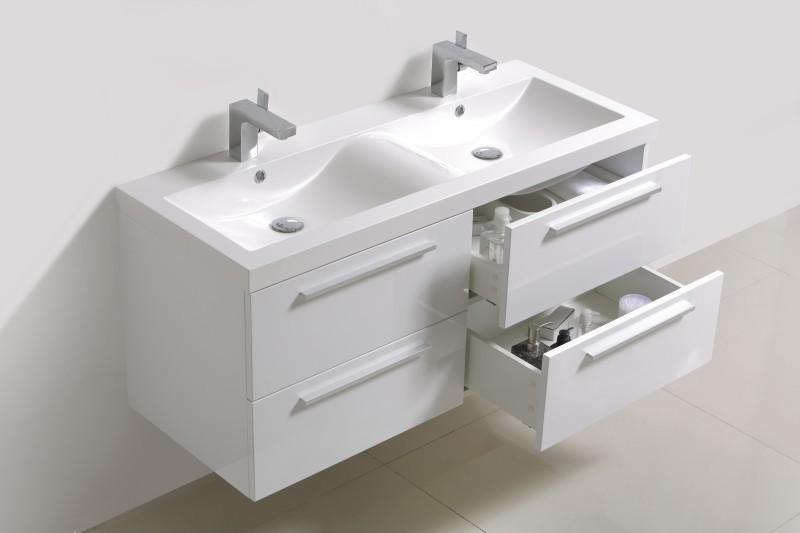 Badmöbel-Set R1200 Weiß inkl. Seitenschrank - Spiegel optional – Bild 1