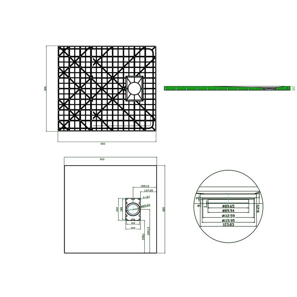 SMC Shower Tray - GT Serie - Anthracite - Width 80cm - 3,7 cm high - optional accessories – Bild 5