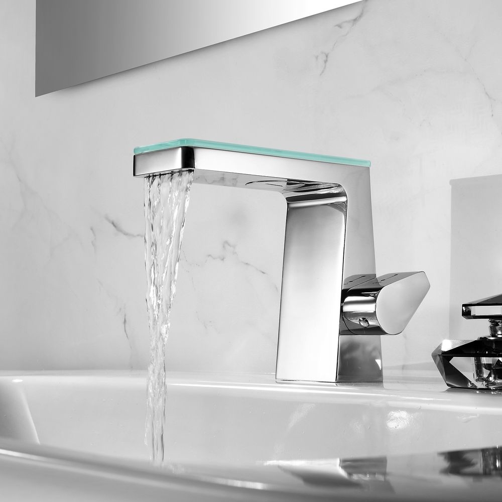Waterfall Basin Mixer Tap with Glass Cover NT7320 Chrome and glass – Bild 2